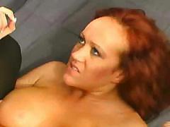Redhead is using her ass as the cockpit of this hard cock