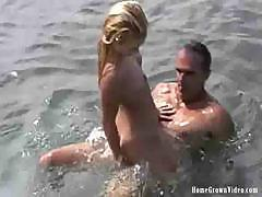 The best of water sports with this couple sucking and fucking