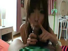 Young Asian Angel checks out her new lover`s hard tasty willy