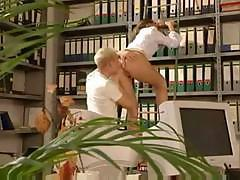 Hot German secretary gets fucked by her hungry co-worker unexpectedly