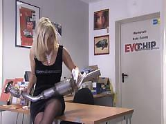 Two horny lesbian bitches service each other`s pussies at repair shop