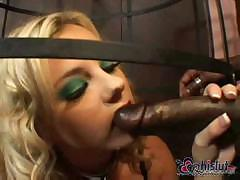 Big black cock slides easily in horny white girl`s poop hole
