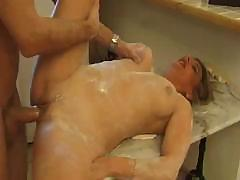 Cream-skinned female with lovely tits sucks off dude`s massive dick