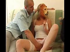 Slim girl in lion mask shows her pussy to horny dude with big wang