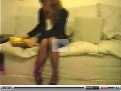 Horny wife in stockings and heels solo