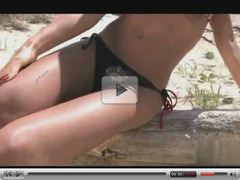 Big titted brunette chick fucking on the beach