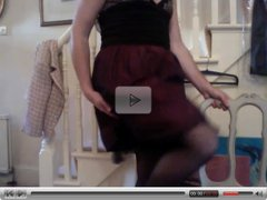 frilly dress stockings and panties at home