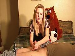 Sexy long-haired Amanda uses guy`s dick as joystick in her sexual game