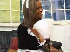 Black sexy housemaid blows off master`s dick after cleaning