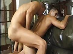 Cruel muscular man wants to fuck this pretty guy`s ass and hot slut`s wet hole