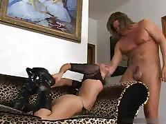 Brutal stud fucks Amber Rayne`s throat making her drool all over his dick