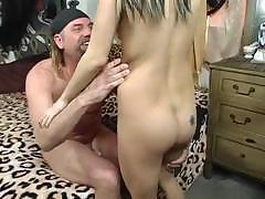 Cute dark-haired young girl gives awesome head to nasty biker