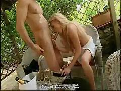 Sweet blonde with perfect body gets fucked on the terrace