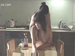 Asian sex conference ends up with hot fucking scene on the kitchen table
