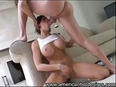 Busty babe  in hat sucking and getting ass ridingon huge cock