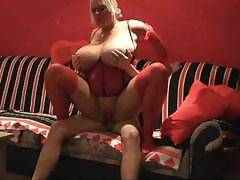 fat milf in stockings riding on cock