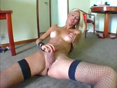 Tall Blond Tranny Strokes Hard And Cums All Over Her Leg