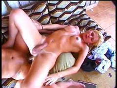 sexy blond shemale anal sex hot action