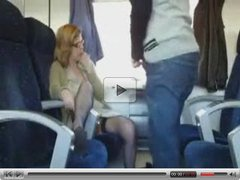 Public Sex in the train with busty milf