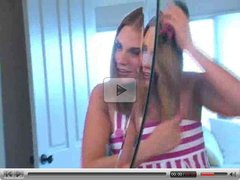 Brianna ,amazing blonde girl combs her hair