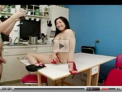 Asian and white fucking in kitchen