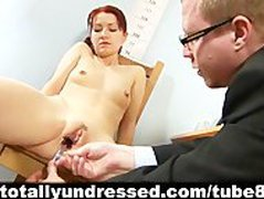 Humiliating, totally nude job interview for shy redhead girl