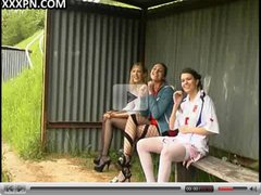 Blonde, brunette and redhead make a lecherous orgy with foot