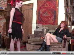 Daughter spanks her stepmother.
