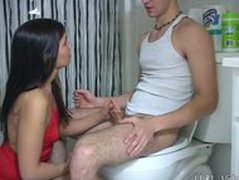Girl Handjob in Toilet