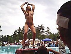 Naked woman dancing at NudesaPoppin' 2012