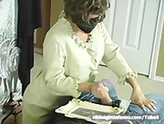 Masked Lady Handjobs Houseboy after cock shock