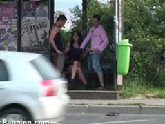 CRAZY threesome at a BUS STOP part 1