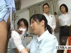Bizarre Japan doctor handjob penis measuring research