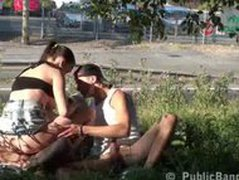 RISKY PUBLIC SEX street threesome PART 2