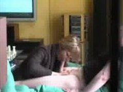 Very cute blonde blows and swallows on hidden cam