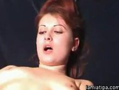 Slut with dildo and fucking machine. Hardcore