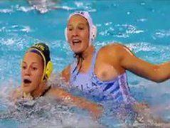 REAL water polo girl grabs at opponents vagina