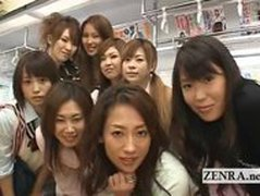 Crazy public Japanese lesbian kissing orgy on train