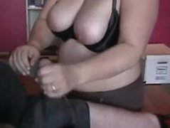 Chubby Wife Giving Amazing Handjob To Husband