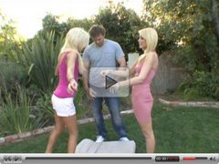 guy fucks two blonde sluts in the garden