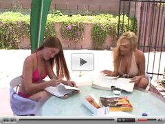 Hot lesbians loving pool and dildo - mrD
