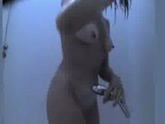 Super cute shaved chick taking a shower on hidden cam