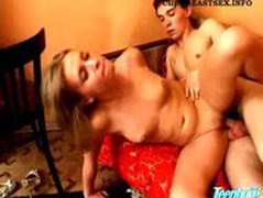 Slim blonde girl gets pounded in all holes