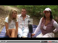 Horny interviewer joins outdoor couple - Rayra