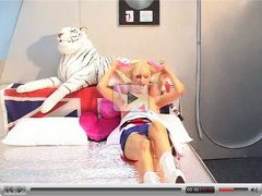 British lesbian strap-on and lollypop action