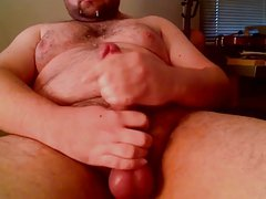Hung Bear Cums on Himself Big Load