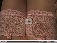 Crossdresser in pink lingerie cums hot