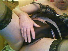 showing my Circumcised Erection in bra and panties