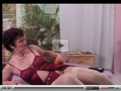 Granny in White Stockings Plays with Big Toys
