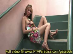 Tina ingenious blonde babe walking down the street and stairs